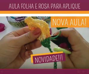 Como Fazer Folha e Botão de Rosa Crochê para Aplique