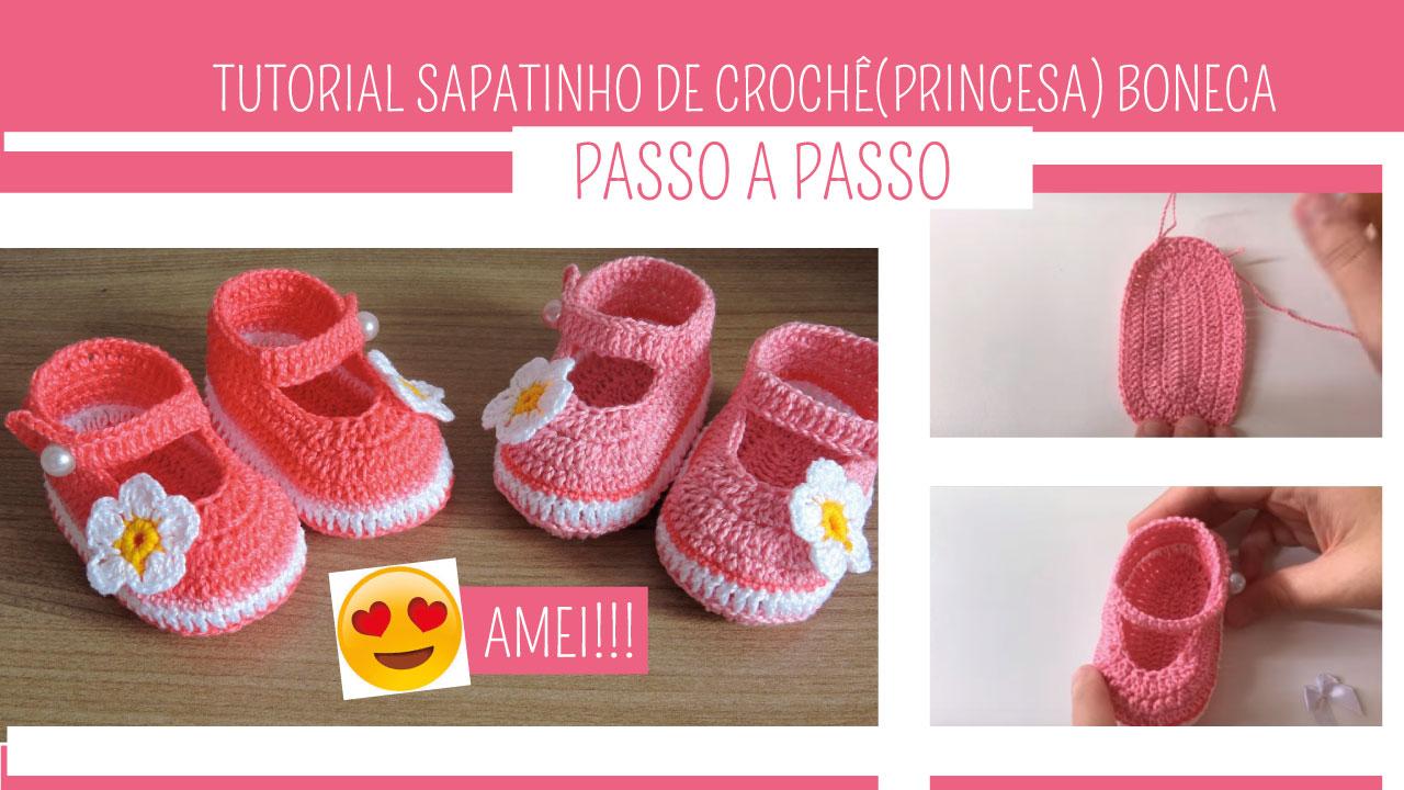 Sapatinho de Crochê Princesa (Boneca)