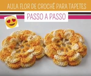 Como Fazer Flor de Crochê Para Tapete Fácil