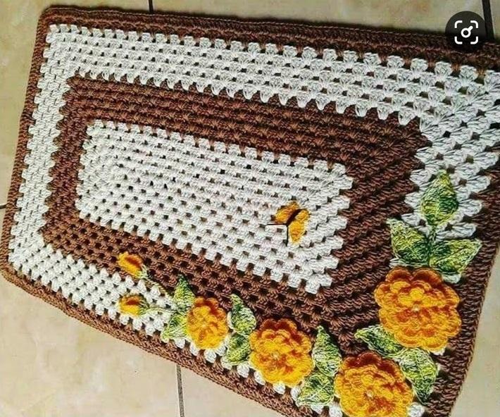 Como Fazer Tapete de Crochê Simples Retangular