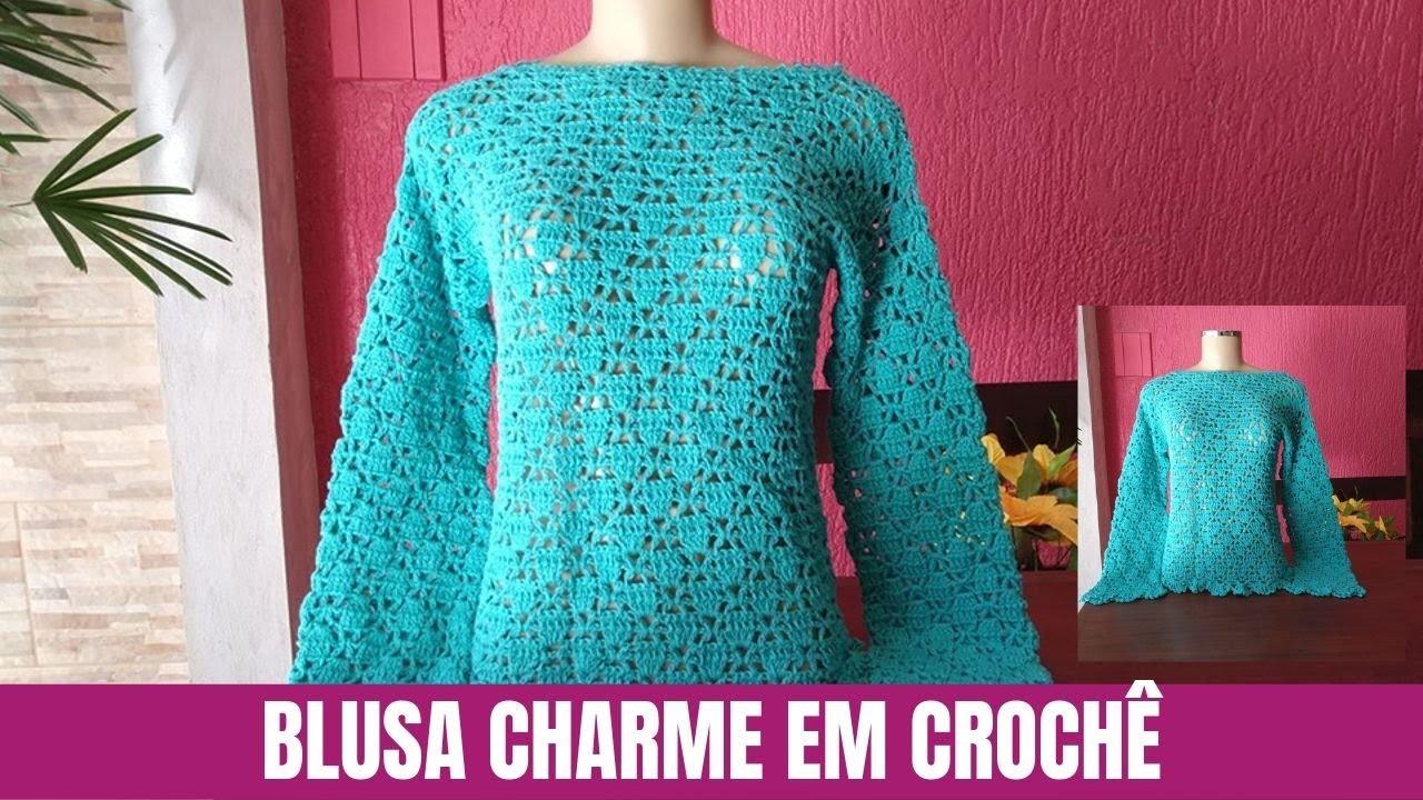 Como Fazer Blusa de Crochê Manga Longa Charme