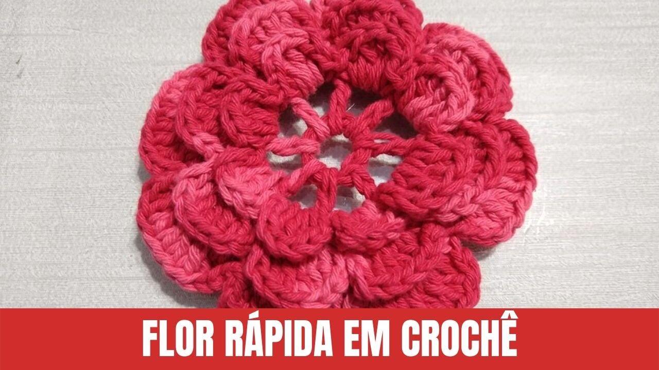 Como Fazer Flor de Crochê Vermelha Fácil