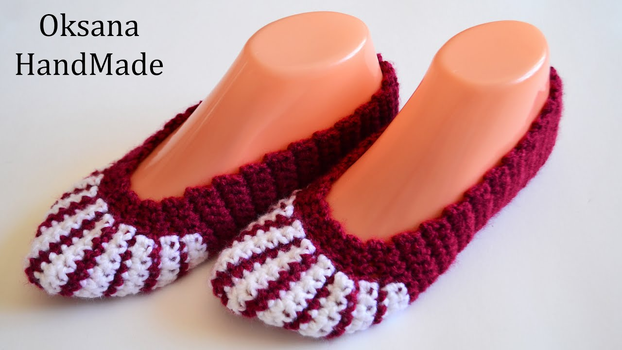 Sapato de Crochê Feminino Vinho com Listras