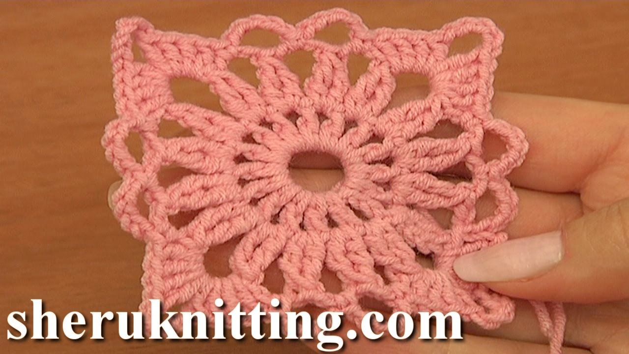 Motivo de Crochê Quadrado Pequeno Rosa