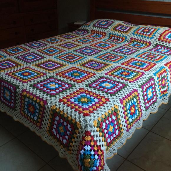 Colcha de Crochê Casal com Square [Inspiração + Passo a Passo]