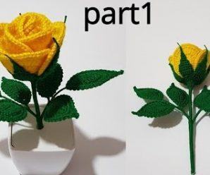 Rosa de Crochê Amarela Fácil