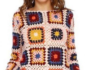 Blusa de Crochê com Squares