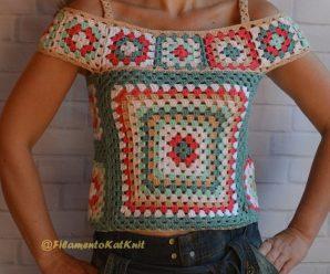 Blusa de Crochê com Squares [Inspiração + Passo a Passo] #2