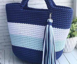 Sacola de Crochê Azul [Inspiração + Passo a Passo]
